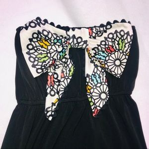 Judith March Strapless Black Dress Retro Bow